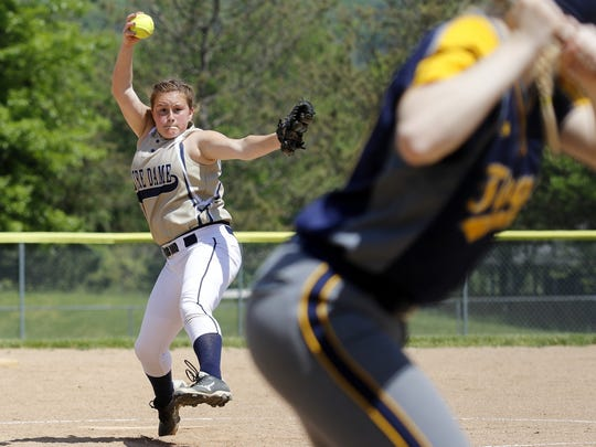 Elmira Notre Dame graduate Izzy Milazzo is 8-1 for Onondaga Community College's softball team.