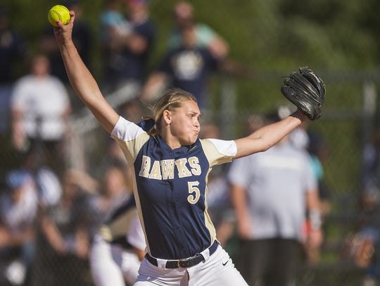 Decatur Central Hawks Karli Ricketts (5) pitches during