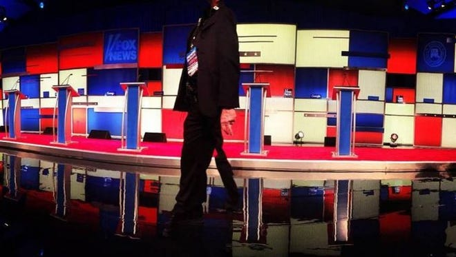 The stage for Thursday night's Republican debate.