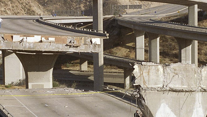 This Jan. 17, 1994, file photo shows damage in Los Angeles from the magnitude-6.7 Northridge earthquake.