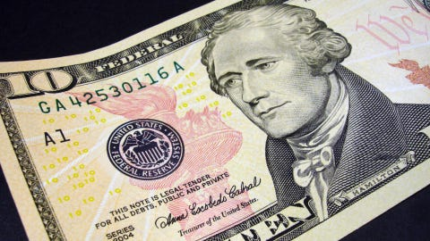 Alexander Hamilton pictured on the $10 bill.