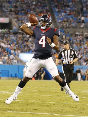 Houston Texans rookie quarterback Deshaun Watson might not even be the starter in September, but he has sleeper potential because of his playmaking ability with his arm and legs.