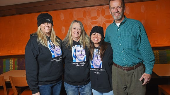 Jennifer Gabriel (from left), sister of Anthony Gabriel; Vickey Lutz, Anthony's mom; Cat Lee, of Los Angeles; and David Gabriel, Anthony's dad, gather Dec. 7 at the Fairfield Inn & Suites Sioux Falls Airport. Lee was the recipient of Anthony Gabriel's right kidney.