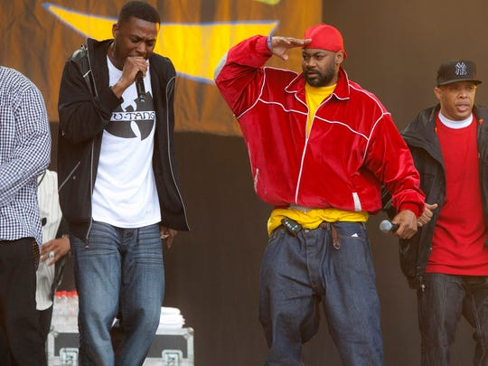 Members of U.S band Wu-Tang Clan perform at the Glastonbury Music Festival, Glastonbury, England, in this photo from June, 2011.