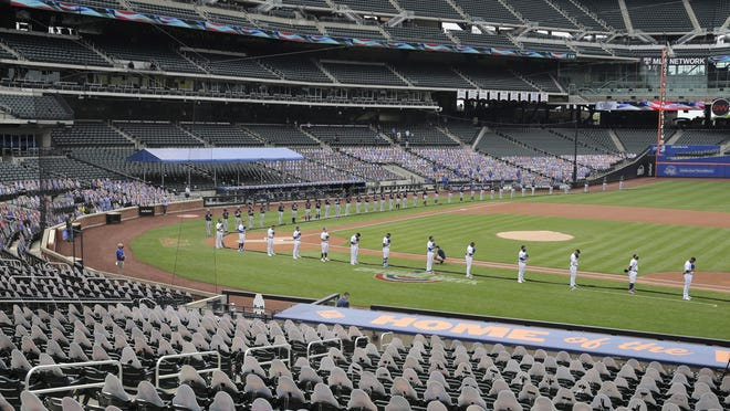 The Mets and their Citi Field home, shown here Opening Day against Atlanta, represent the first 2020 road stop for the Red Sox.