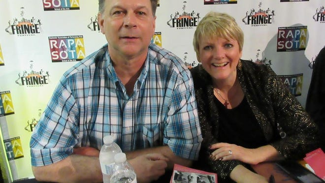 """Steve Barnhoorn, of Honeoye, pictured here with Alison Arngrim, who played Nellie Oleson on """"Little House on the Prairie"""" from 1974 to 1982, at the Rochester Fringe Festival in September 2016."""