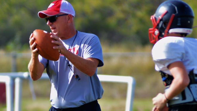 Coach Chuck Lipsey directs Ballinger's practice 10-18-17