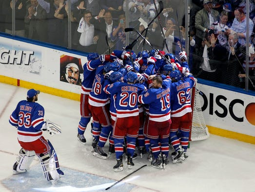 Game 6: The New York Rangers celebrate beating the Montreal Canadiens 1-0 to win the Eastern Conference Finals.