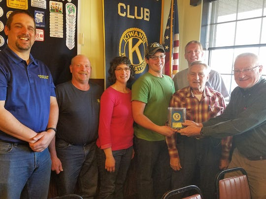 Logan Pluim was named as the Waupun Kiwanis Club April Junior Kiwanian. Pictured are, from left: Kiwanis President Scott Ritzema, Steve and Delaine Pluim, Logan Pluim, Pastor Talman Wagenmaker, Pluim's grandfather Trayton Greenfield and Kiwanian Dennis Overlein.