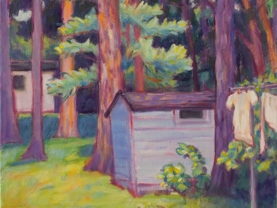 """""""Blue Shed,"""" oil painting by Lynn Gilchrist, one of"""