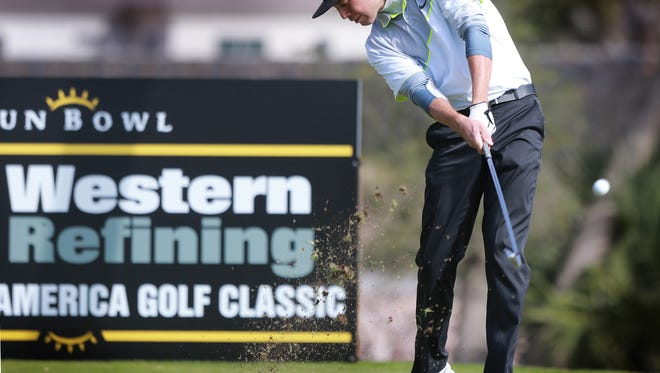 Western Refining All America Golf Classic champion Zack Jaworski teed off on the 10th hole in Sunday's final round action at the El Paso Country Club.
