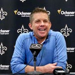 In this Jan. 6 file photo, Sean Payton talks to the media after announcing he will remain as the head coach for the New Orleans Saints during a press conference at the New Orleans Saints Training Facility.