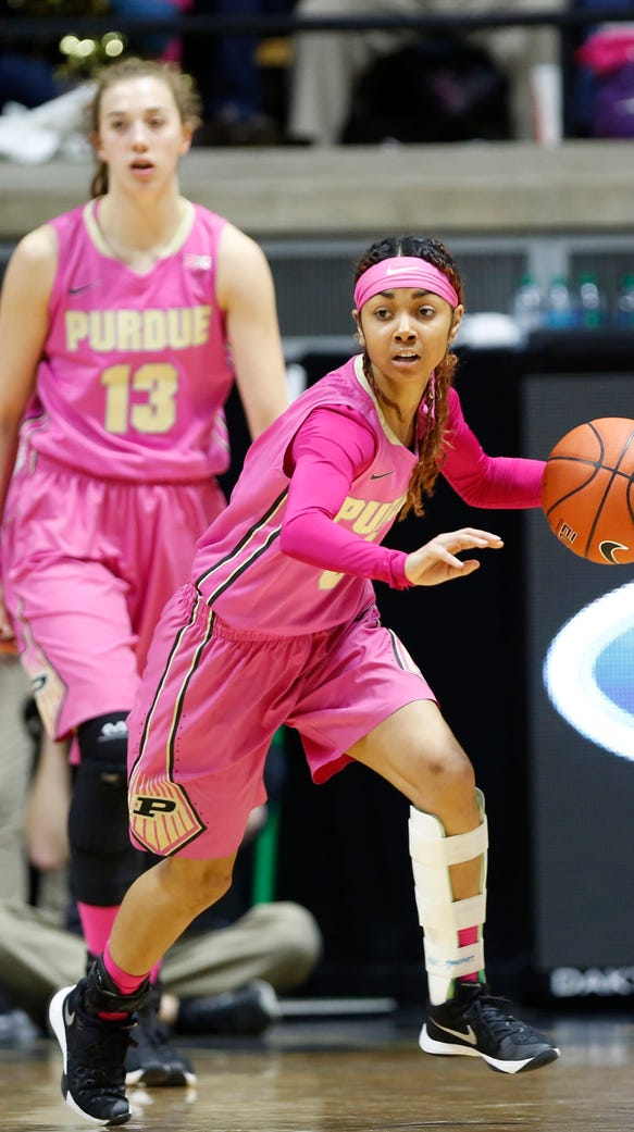 Tiara Murphy looks to pass up court on a Purdue fast