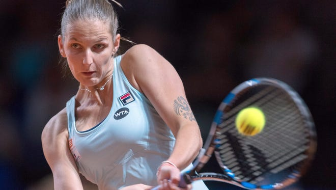 Karolina Pliskova, shown during the Porsche Grand Prix, cruised past Camila Giorgi 6-2, 6-1 at the Prague Open.