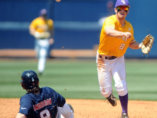 LSU shortstop Alex Bregman, right, forces out Ole Miss' Austin Anderson, left, on a double play on Saturday in Oxford. The double play ruined one of Ole Miss' top scoring chances. AP LSU shortstop Alex Bregman, right, forces out Mississippi's Austin Anderson, left, on a double play during an NCAA college baseball game in Oxford, Miss., Saturday, April 19, 2014. (AP Photo/Oxford Eagle, Bruce Newman) MAGAZINES OUT; NO SALES; MANDATORY CREDIT