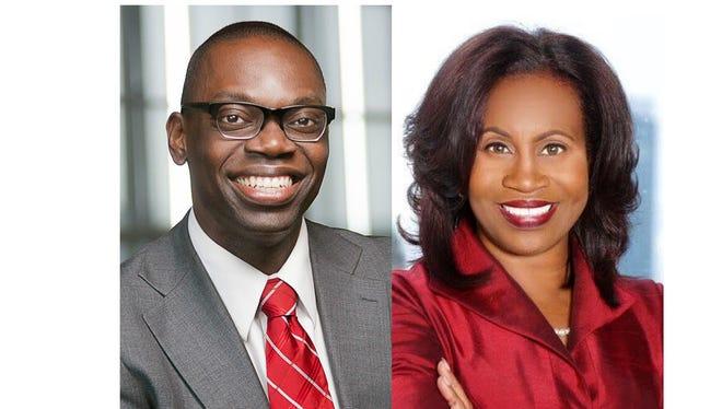 Garlin Gilchrist, left, and Janice Winfrey, running for Detroit City Clerk
