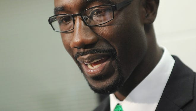 Jackson Mayor-elect Tony Yarber pauses to speak with reporters while at the Hinds Community College Academic and Technology Center in Jackson to speak to a M2M Minority Male Leadership Initiative advisory board meeting on Wednesday.