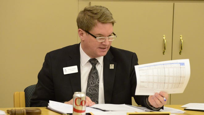 President Jerome Webster speaks at a January Terra State Community College board meeting.