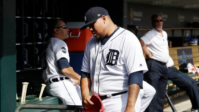 Detroit Tigers relief pitcher Bruce Rondon walks into the clubhouse after being relieved during the eighth inning Sunday.