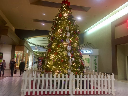 Holiday displays greeted shoppers at Lancaster Mall.