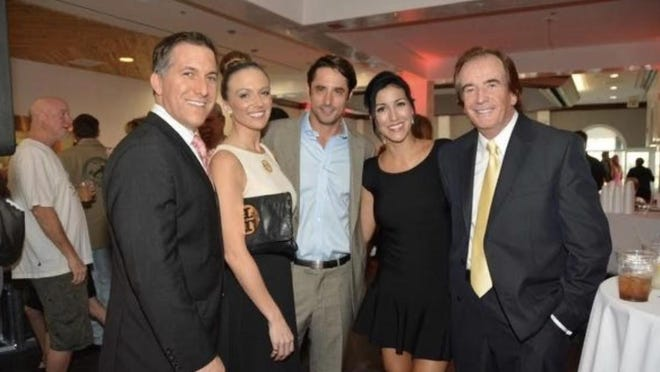 Palm Beach County State Attorney Dave Aronberg, his then-future wife Lynn Lewis, Lorenzo Borghese, Jessica Nicodemo and Glenn Straub at a 2015 charity event at Palm Beach Polo for Nicodemo's pet rescue group.