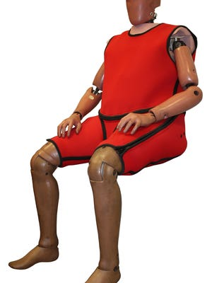 The Humanetics obese crash test dummy. Height is 6-foot-2 and the weight is 273 pounds.