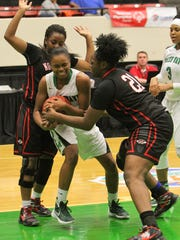 Fort Myers guard Bethany Brunson and Northeast's Kandis
