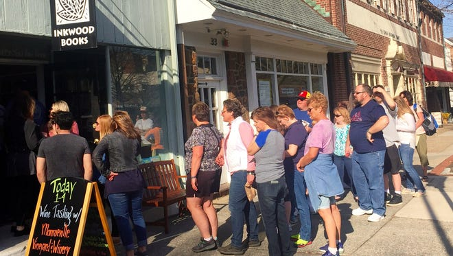 At last year's Haddonfield Uncorked, visitors lined up to taste Monroeville Vineyard's wines at Inkwood Books. This year, LaBelle Art Gallery will host Monroeville.