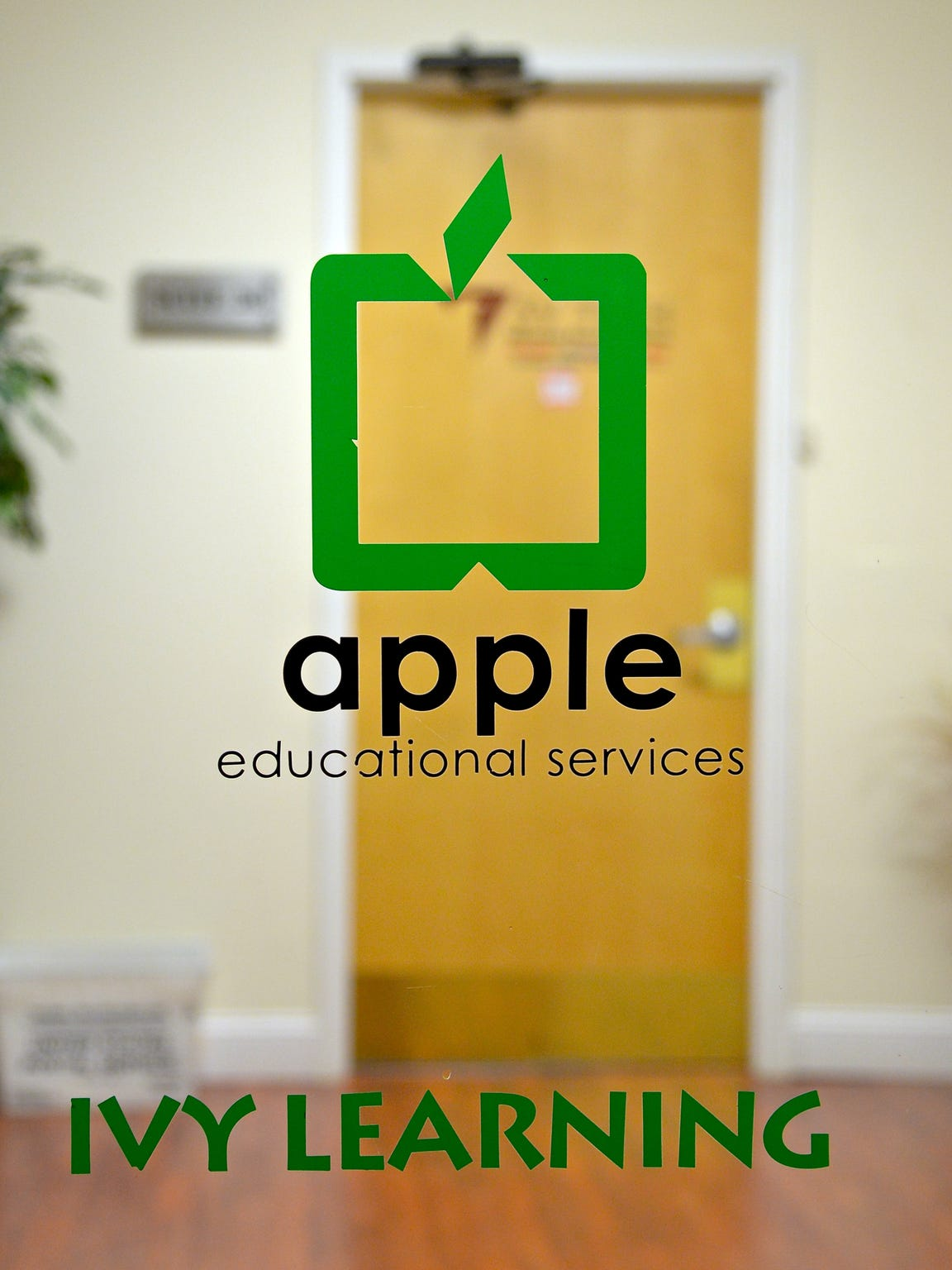 The front door at the office of Apple Educational Services in Moonachie.