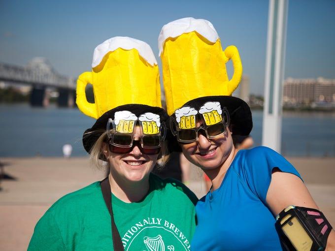 Erin Hargan and Jennifer Hogan had to look through beer goggles during the run.