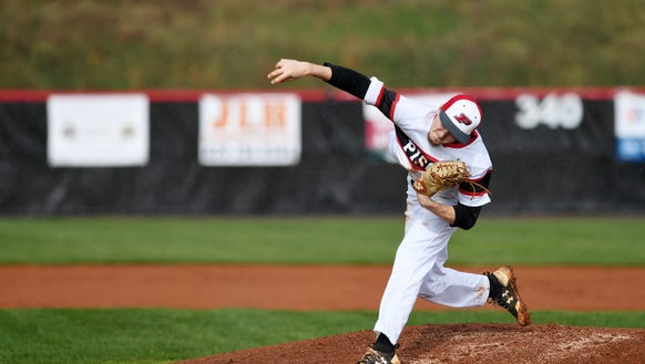 Pisgah's Mason Herbert pitches in the game against