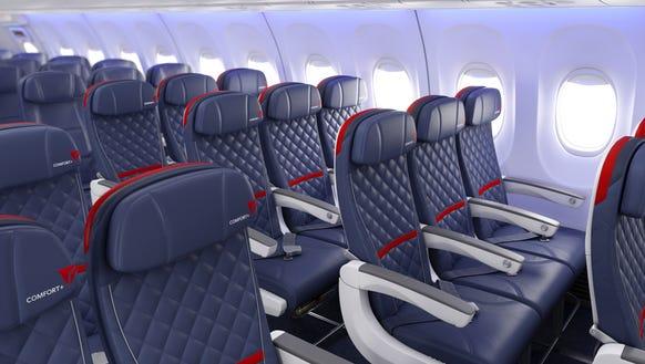 An image of Delta's updated Delta Comfort+ seats.