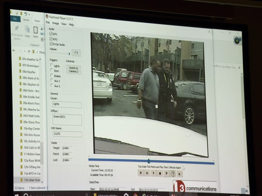 Evidence showing Norman Eugene Clark on the incarnation video from a KPD officer sent to the scene where Brittany Eldridge was killed in 2011. Clark is accused of killing his girlfriend, Brittany Eldridge, and their unborn son.