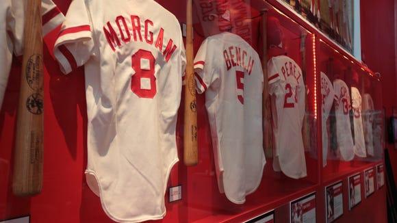 Game-used bats and jerseys of Joe Morgan, Johnny Bench, Tony Perez and others.