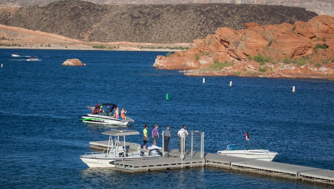 First responders out of Hurricane City and the Utah Division of Wildlife Resources respond to a fatal drowning at Sand Hollow Wednesday, July 22, 2015.