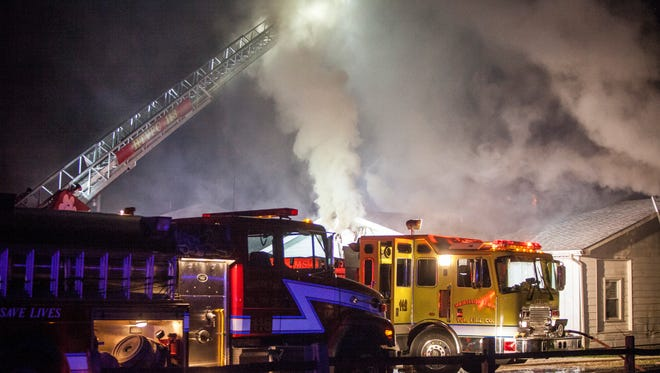 A fire in the Meadowlane apartments at the corner of State Road 28 and North Hamilton Drive Saturday night required firefighters from Hamilton Township, Gaston, Eaton and more to subdue. No one was injured during the incident.