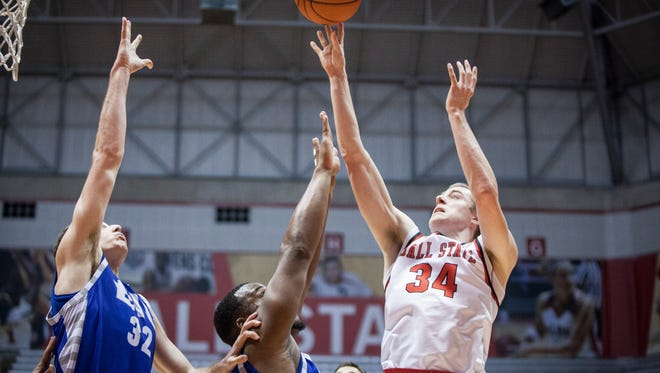 Ball State's Sean Sellers takes the shot during the game against Eastern Illinois University on Monday at Ball State. Ball State won the game 73-56.