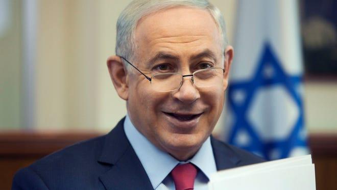 Israeli Prime Minister Benjamin Netanyahu attends a weekly cabinet meeting in Jerusalem on  Jan. 17, 2016.