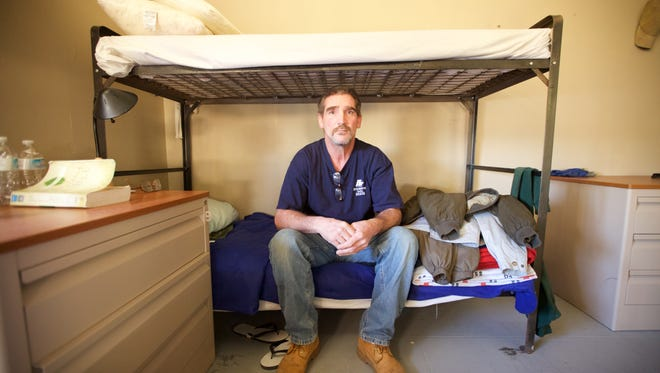 Mike Brown, 49, struggles to find work in construction and control his drinking. He's in a substance abuse treatment program at Jersey Shore Rescue Mission