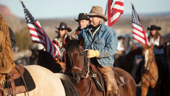 """Friends and family mourn at the funeral of Robert """"LaVoy"""" Finicum in Kanab, Utah Friday, Feb. 5, 2016. Finicum was an Arizona rancher who was shot by police in Oregon during a recent confrontation."""