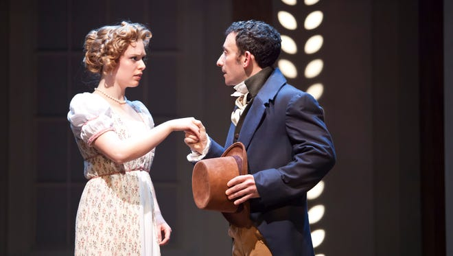 """Courtney Lucien and Jeremy Dubin star as Emma and Mr. Knightley, respectively, in Cincinnati Shakespeare Company's production of Jane Austen's """"Emma,"""" with a stage adaptation by Jon Jory. Performances take place in CSC's theater, 719 Race St., Downtown."""