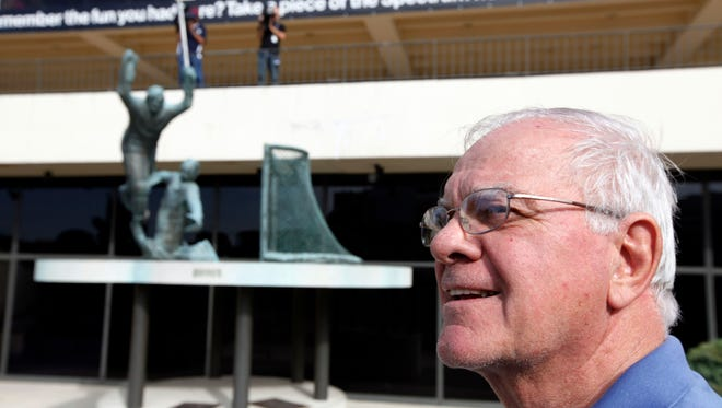 Philadelphia Flyers Hall of Famer Gary Dornhoefer poses for a photograph with a statue on Oct. 28, 2010,  outside the Spectrum in Philadelphia. The statue depicts Dornhoefer's game-winning, overtime goal against the Minnesota North Stars in 1973. The spectrum is gone now, but the statue remains.