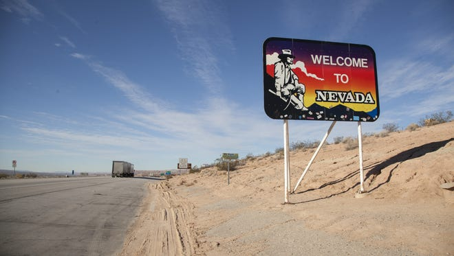 The welcome sign to Nevada near Mesquite.