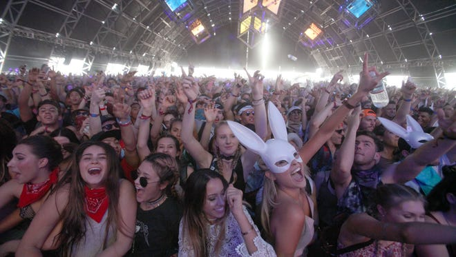 Baauer performs in the Sahara tent during the second weekend of the  Coachella Valley Music and Arts Festival in Indio on April 24, 2016.