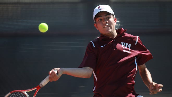 Ismael Cuevas of Rancho Mirage High School helped his team advance during the first round of CIF at home on May 11, 2016.
