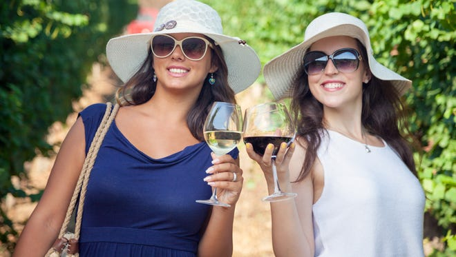 Happy women toasting with wine in vineyard.