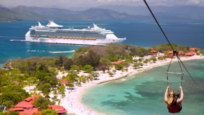 The Freedom of the Seas cruise ship is shown while at a port stop in Haiti.