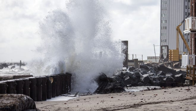 High winds make their way north and effects can be seen as waves crash into shore on September 4, 2016 in Atlantic City, New Jersey.