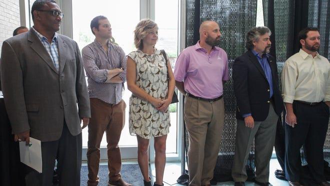 Entrepreneurial Accelerator Program portfolio company founders are pictured at a recent celebration of the program's second year in operation. Pictured left to right at Hilton Nicholson, CyberReef solutions; Arthur Mintz and Theresa Andersson, Swaybox Studios; Beau Raines, Red River Brewing Company; Jim Cardelli, Segue Therapeutics; and John Chidlow, Innolyzer.
