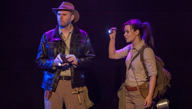 """Dave F'n Powell (left) plays the title role in """"Ken Ham's Journey to the Center of the Earth,"""" written by Trey Tatum and directed by Bridget Leak. Seen with him here is Jordan Trovillion, who appears in multiple roles in the show, which is co-produced by Queen City Flash and the Know Theatre of Cincinnati."""